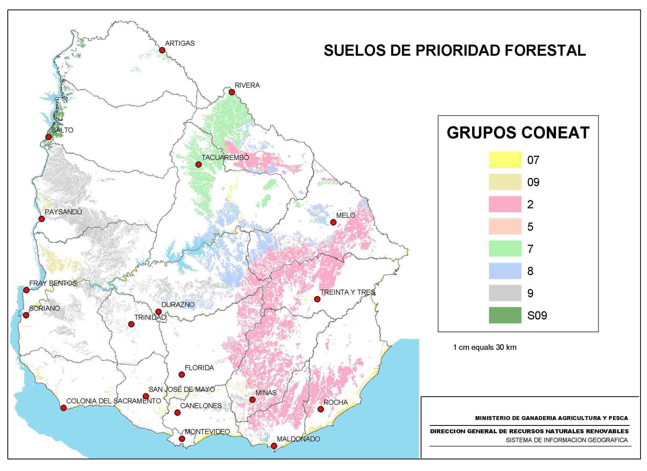 Uruguay prioridad forestal suelos mapa